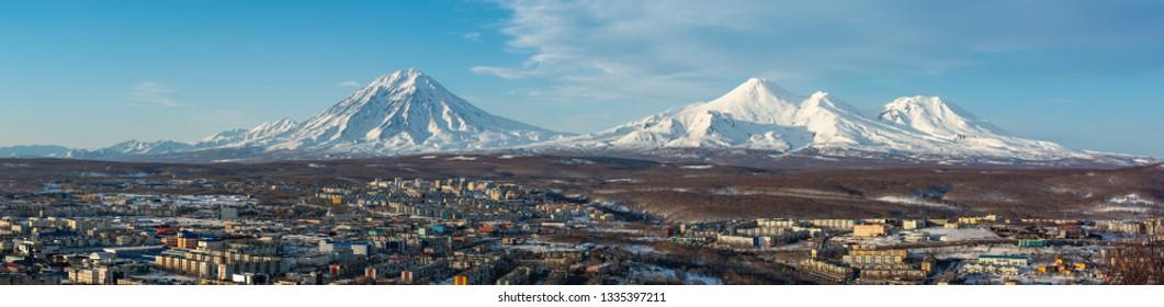 Kamchatka. Home volcanoes. Petropavlovsk-Kamchatsky is on the kamchatka peninsula