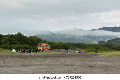 Kamchatka Peninsula, Russia - August 27, 2016: Campground of tourists on Zavoiko Bay in the Pacific Ocean on the outskirts of the city Petropavlovsk-Kamchatsky