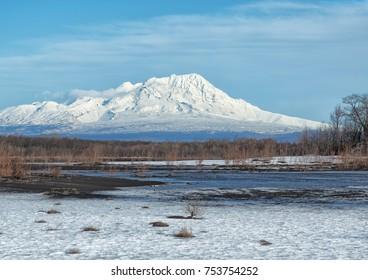 KAMCHATKA PENINSULA, RUSSIA - NOV 11, 2017:  Shiveluch Volcano.(3307m) Active.