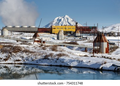 KAMCHATKA PENINSULA, RUSSIA - OCT 22, 2017: Winter view on Mutnovskaya Geothermal Power Plant (Mutnovskaya GeoPP-1) Geotherm JSC (RusHydro) using geothermal energy to produce electricity.