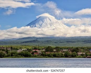 Kamchatka Peninsula. Russia.  Village Klyuchi.The volcano of Klyuchevskaya sopka. (4800 m) is the highest active volcano of Eurasia.