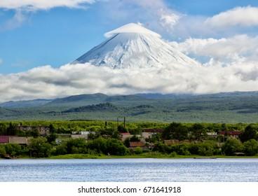 Kamchatka Peninsula. Russia.  Village Klyuchi. The volcano of Klyuchevskaya sopka. (4800 m) is the highest active volcano of Eurasia.
