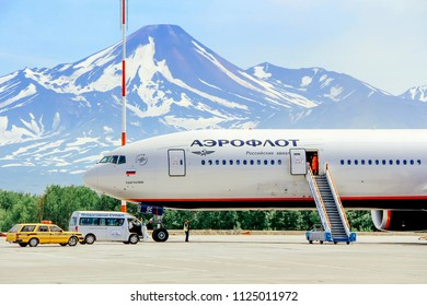 Kamchatka, Russia - 18, JULY 2013. Aeroflot airplane at the airport of Petropavlovsk-Kamchatsky preparing for boarding people.