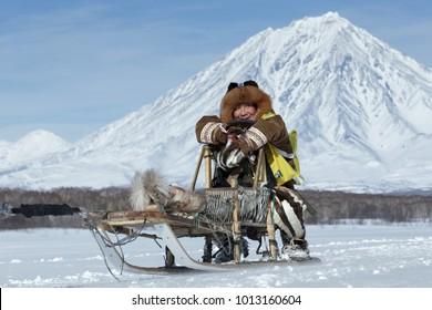 KAMCHATKA, RUSSIA - FEB 25, 2017: Kamchatka musher Mandyatov Roman dressed in national clothes rides on traditional sled of indigenous peoples of Kamchatka. Kamchatka Sled Dog Racing Beringia.