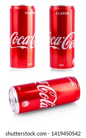 KAMCHATKA, RUSSIA - June 05, 2019: Editorial photo of Closeup aluminum red can of Coca-Cola produced by the Coca-Cola Company