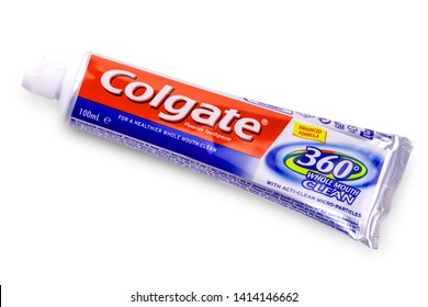 Kamchatka, Russia -May 13, 2019;: Colgate tooth paste on white.Colgate is a brand of toothpaste produced by Colgate-Palmolive