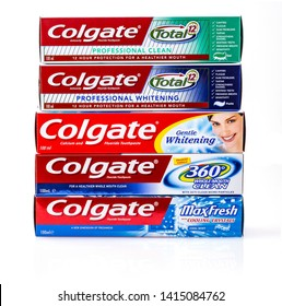 Kamchatka, Russia -May 13, 2019;: Set of Colgate tooth paste on white.Colgate is a brand of toothpaste produced by Colgate-Palmolive
