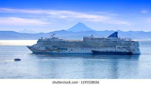 "Kamchatka, Russia - SEPT 29, 2018: Big CRUISE SHIP ""NORWEGIAN JEWEL"" in Avacha Bay on the Kamchatka Peninsula on the way to the seaport"