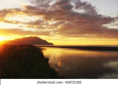 Kamchatka, sunrise on the Pacific coast