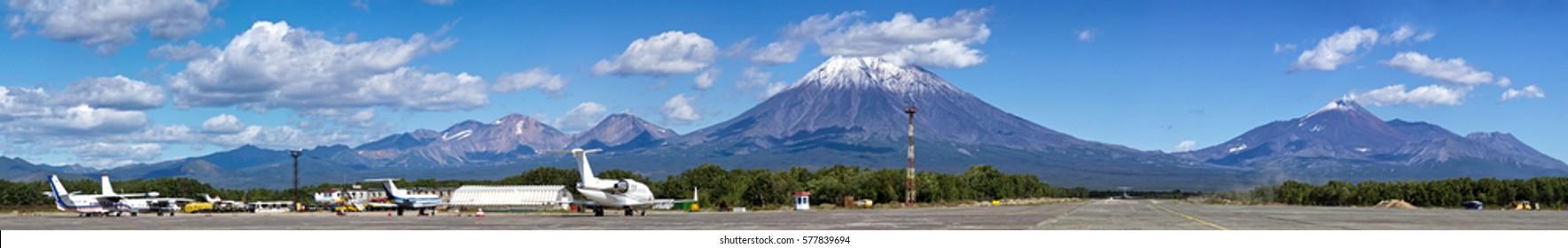 Kamchatka,Russia- September 4,2012: Views of Koryaksky and Avachinsky volcano. Yelizovo airport near Petropavlovsk-Kamchatsky.