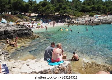 KAMENJAK PENINSULA,CROATIA -July 07,2017: clean sea in Njive beach, peninsula Kamenjak,Istra region,Croatia.Kamenjak Peninsula  is a protected natural reserve