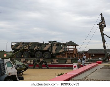 Kamensk - Shakhtinsky, Rostov region, Russia, October 3, 2020 Military equipment. Artillery tractor BAZ-6953 on a folding bridge in Patriot Park.