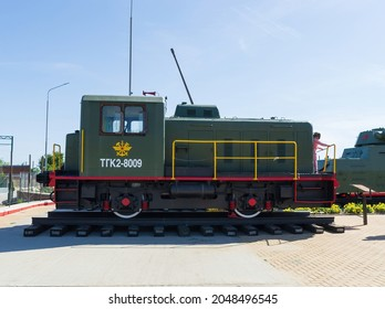 Kamensk - Shakhtinsky, Rostov region, Russia, September 18, 2021. Railway, a small diesel locomotive used in World War II to work at stations for military purposes