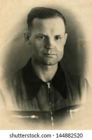 KAMENSK-SHAKHTINSKIY, ROSTOV REGION, USSR - CIRCA1953: antique photo portrait of man