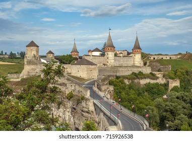 Kamianets-Podilskyi medieval tower in Ukraine. Khmelnytskyi region - Podillya.