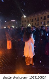 Kamianets-Podilskyi, Ukraine - February 14, 2018: Marriage of 26 couples of brides in the central square