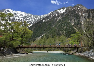 Kamikochi · azusa river,Kappa bridge and Larch forests mountains in early summer