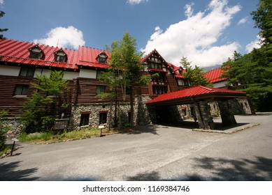 KAMIKOCHI, JAPAN - AUGUST 07, 2018: View of Kamikochi Imperial Hotel, this hotel is one of the most famous mountain resort hotel in Japan.