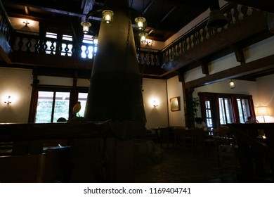 KAMIKOCHI, JAPAN - AUGUST 07, 2018: Inside view of Kamikochi Imperial Hotel, this hotel is one of the most famous mountain resort hotel in Japan.