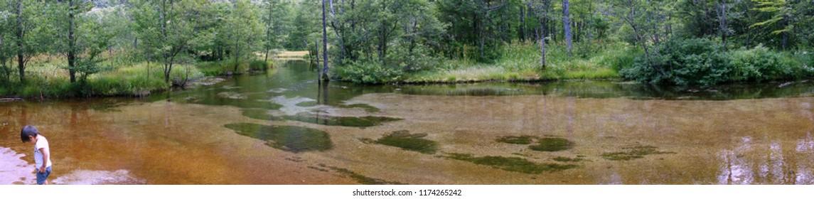 KAMIKOCHI, JAPAN - AUGUST 07, 2018: Scenery of Tashiro Pond at Kamikochi ,Japan.