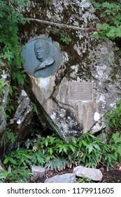 KAMIKOCHI, JAPAN - AUGUST 07, 2018: Monument of British propagator Walter Weston who introduced charm of Kamikochi into the world.