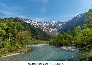 Kamikochi in Japan with clear sky