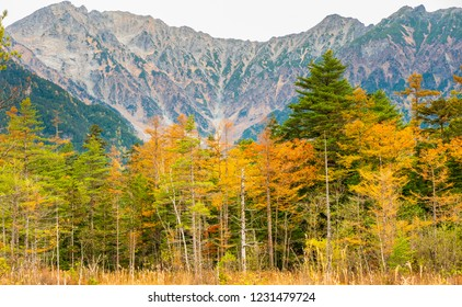 Kamikochi Located at the northern part of the Japanese Alps in Nagano Prefecture. There is a river, the Azusa flowing through and has a backdrop of mountains to high level 3,000meters in Nature concep