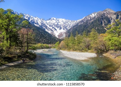 Kamikochi National Park in the Northern Japan Alps of Nagano Prefecture, Japan. Beautiful snow mountain with river.  One of the most beautiful place in Japan.