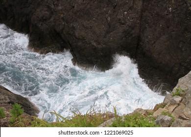 Kaminariiwa rock and Ranboya gorge in Goishi coast, Ofunato, Iwate, Japan
