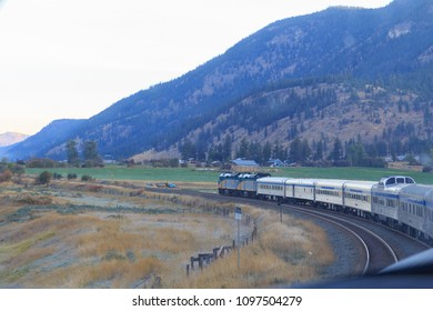 Kamloops, Alberta / Canada - October 04 2017: Via Rail's train leaving Kamloops station in Alberta