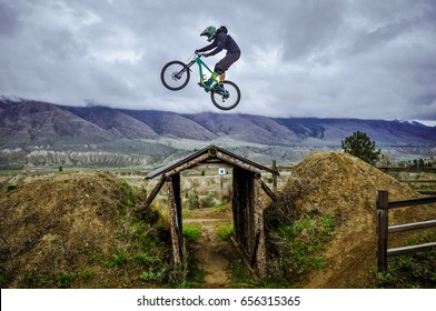 Kamloops Bike Ranch, British Columbia, Canada - April 2017: Dirt jumping in Kamloops Bike Ranch