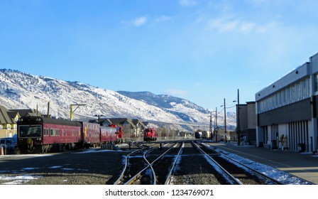 Kamloops, Canada - November 29th, 2014. The Canadian Pacific Railway train stopped in downtown Kamloops, British Columbia, Canada on a beautiful winters day with sunshine and blue sky.