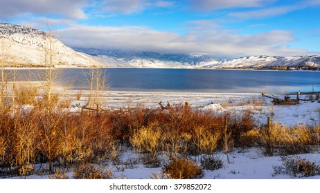 Kamloops Lake in central British Columbia, Canada on a cold and crisp Winter Day under a blue sky