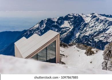 Kamnik, Slovenia. April 13, 2018. Free public mountain shelter Bivak pod Skuto near Skuta mountain, Kamnik-Savinja alps, Slovenia.