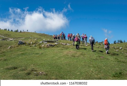 KAMNIK, SLOVENIA - AUGUST 27, 2018: Group of older hikers climbing to the top of Velika planina (Big Pasture Plateau)