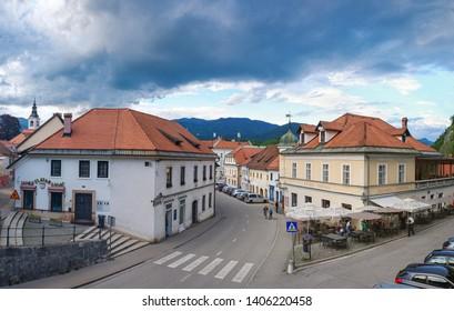KAMNIK, SLOVENIA - MAY 23: Panoramic view of historical center of Kamnik