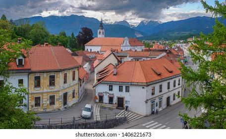 KAMNIK, SLOVENIA - MAY 23: Panoramic view of historical center of Kamnik with Kamnik-Savinja Alps in background