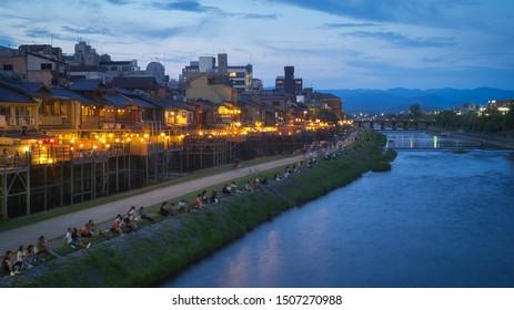 Kamogawa river Noryo Yuka, Kyoto, Japan.