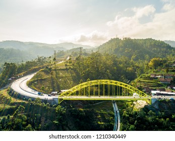 Kamojang Hill Bridge with Metal Construction, a Yellow Arch Bridge, Bandung, West Java, Indonesia