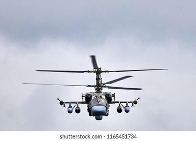 Kamov Ka-52 Alligator (NATO code name: Hokum B) attack helicopter of russian air force at shooting range. Attack helicopter performing demonstration flight. 02.09.2017, Rostov Region, Russia