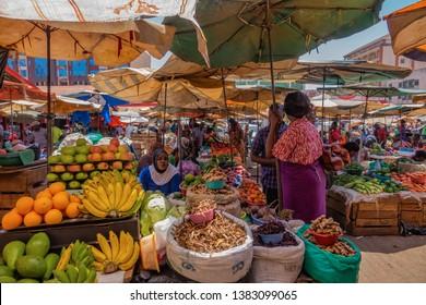 Kampala, Uganda 02 09 2019: busy african market. owino market in kampala, uganda.