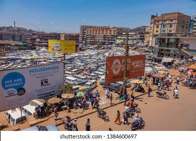 Kampala, Uganda 02 09 2019: Crowded Bus Depot In Kampala, Uganda.
