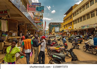 KAMPALA, UGANDA - APRIL 11, 2017: A crowded street in the center of Kampala where you can buy printer, toner and paper. Kampala is the capital city of Uganda in East Africa.