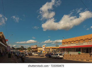 KAMPALA, UGANDA - APRIL 18, 2017: Entebbe Road This is the Entebbe Road in the center of Kampala with a lot of shops,banks and other businesses. Kampala is the capital city of Uganda.