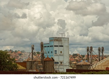 KAMPALA, UGANDA - APRIL 19,2017: Industrial area: This is an old factory building in the industrial area of Kampala. Kampala is the capital city of Uganda.