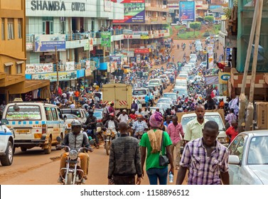 Kampala, Uganda - April 20, 2017: Heavy traffic in the center of Kampala.Kampala is the capital city of Uganda in Africa.