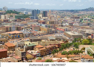 Kampala / Uganda - August 2017: View of the city from the Grand Mosque minaret