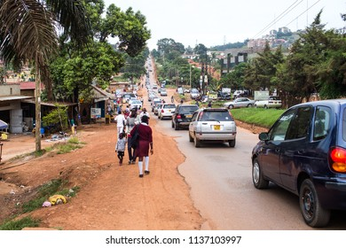 KAMPALA, UGANDA - CIRCA NOV, 2016: A view from a main street in the Kampala at the evening rush hours.
