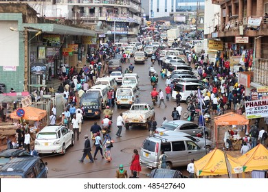 KAMPALA, UGANDA - CIRCA NOVEMBER 2015: Busy life in downtown Kampala. The town is chaotic and overpopulated but locals find their ways and make good business.