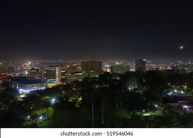 KAMPALA, UGANDA - CIRCA SEPTEMBER 2016: Night view of the city of Kampala
